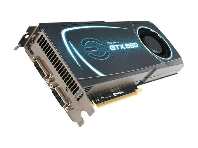 EVGA 015 P3 1580 B1 GeForce GTX 580 (Fermi) 1536MB 384-bit GDDR5 PCI Express 2.0 x16 HDCP Ready SLI Support Video Card