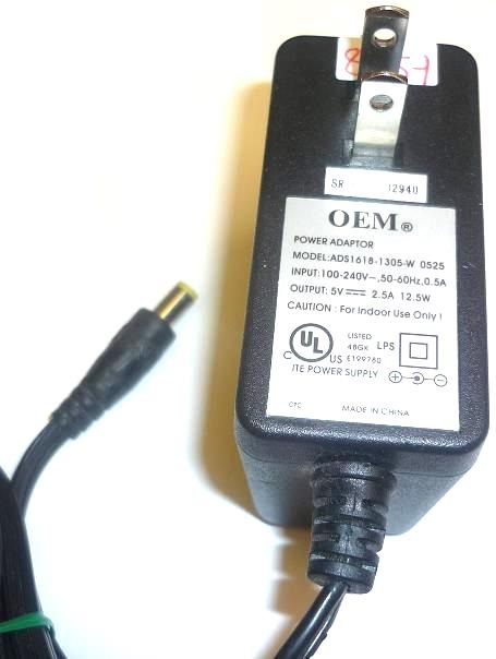 OEM ADS1618-1305-W 5VDC 2.5A  12.5W AC Power Adapter