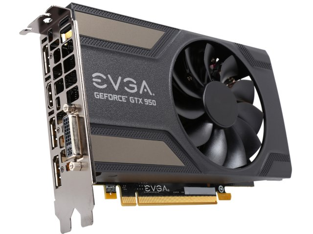 EVGA 02GP42951KR NVIDIA GEFORCE GTX 950 SC GAMING 2GB GDDR5 DVI HDMI 3DISPLAYPORT PCI-E VIDEO CARD.